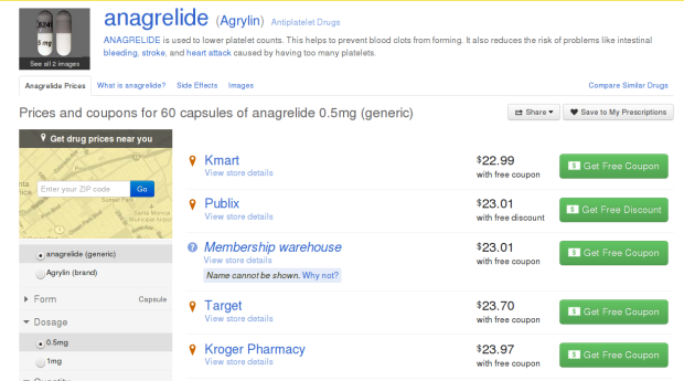 Prices for a One Month Supply of Anagrelide